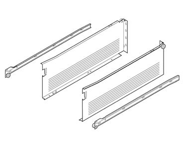 Blum Metabox Single Extension Steel Sides 150mm X 550mm