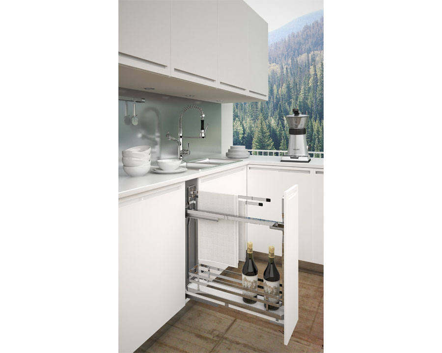 sige towel rail side mount sof close left hand for 150mm carcase size weight limit 8kg